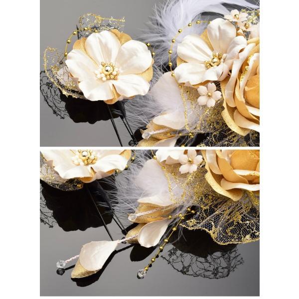 卒業式 袴 髪飾り かんざし 金色 ゴールド 振袖 成人式 髪飾り 和装 着物 花 髪飾り セット 薔薇 羽 kanzashi 03