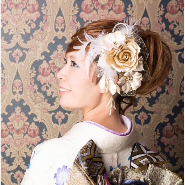 卒業式 袴 髪飾り かんざし 金色 ゴールド 振袖 成人式 髪飾り 和装 着物 花 髪飾り セット 薔薇 羽 kanzashi 04
