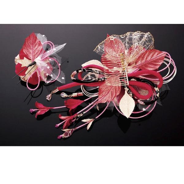 卒業式 袴 髪飾り かんざし ワイン 振袖 成人式 髪飾り 和装 着物 花髪飾りセット 結婚式 水引 髪飾り|kanzashi|04