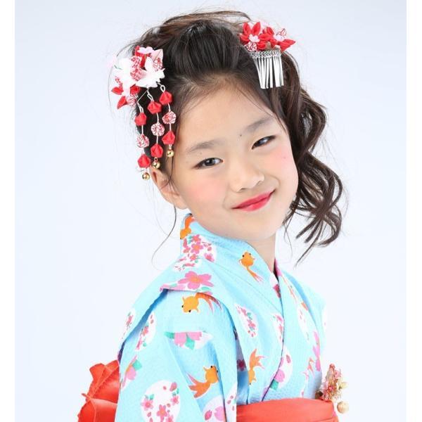 七五三 髪飾り 2点セット 715015 つまみ細工赤 レッド 753 通販 女の子 女児 こども 子供 キッズ kanzashi 04