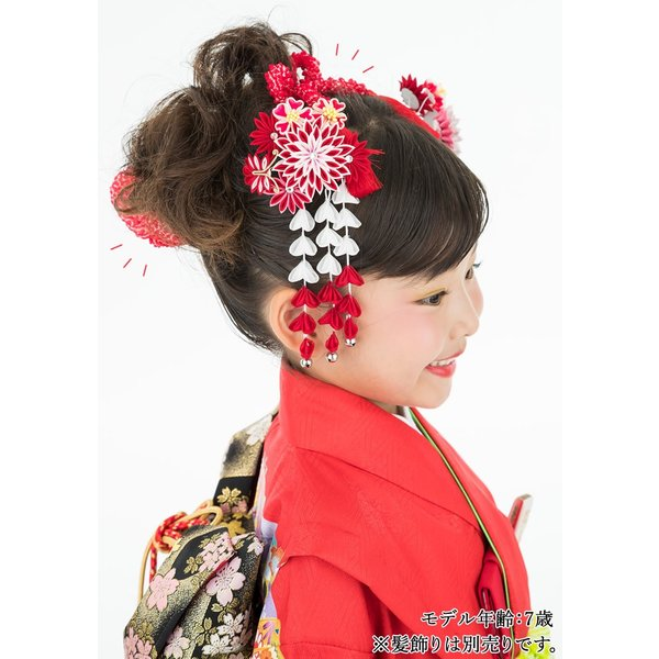 七五三 髪飾り 正絹の結綿かのことチンコロ房付のセット 赤 日本製 753 女の子 3歳 7歳 kanzashi 11