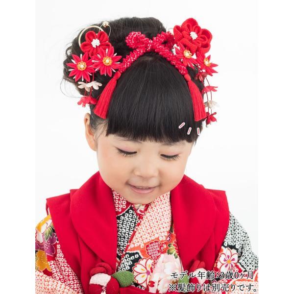 七五三 髪飾り 正絹の結綿かのことチンコロ房付のセット 赤 日本製 753 女の子 3歳 7歳 kanzashi 13
