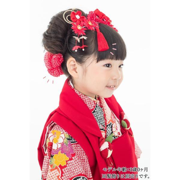 七五三 髪飾り 正絹の結綿かのことチンコロ房付のセット 赤 日本製 753 女の子 3歳 7歳 kanzashi 14