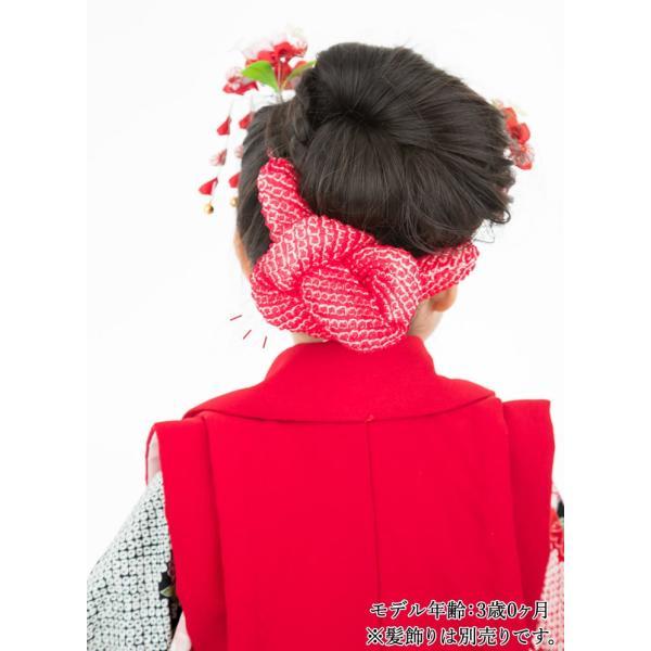 七五三 髪飾り 正絹の結綿かのことチンコロ房付のセット 赤 日本製 753 女の子 3歳 7歳 kanzashi 15