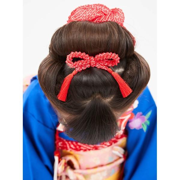 七五三 髪飾り 正絹の結綿かのことチンコロ房付のセット 赤 日本製 753 女の子 3歳 7歳 kanzashi 06