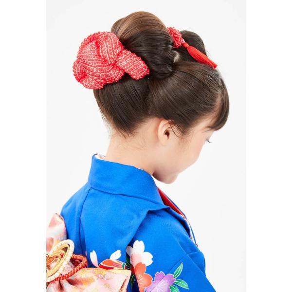 七五三 髪飾り 正絹の結綿かのことチンコロ房付のセット 赤 日本製 753 女の子 3歳 7歳 kanzashi 07