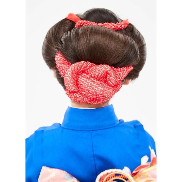 七五三 髪飾り 正絹の結綿かのことチンコロ房付のセット 赤 日本製 753 女の子 3歳 7歳 kanzashi 08