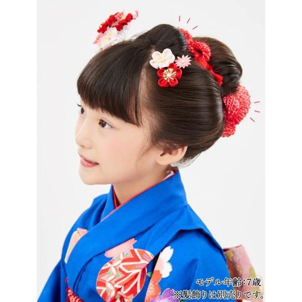 七五三 髪飾り 正絹の結綿かのことチンコロ房付のセット 赤 日本製 753 女の子 3歳 7歳 kanzashi 09