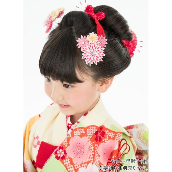 七五三 髪飾り 正絹の結綿かのことチンコロ房付のセット 赤 日本製 753 女の子 3歳 7歳 kanzashi 10