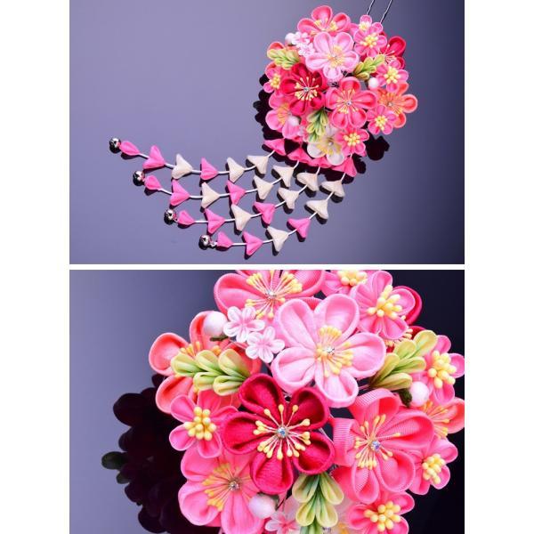 卒業式 袴 髪飾り かんざし ピンク 振袖 卒業式 和装 着物 つまみ細工 結婚式 袴|kanzashi|02