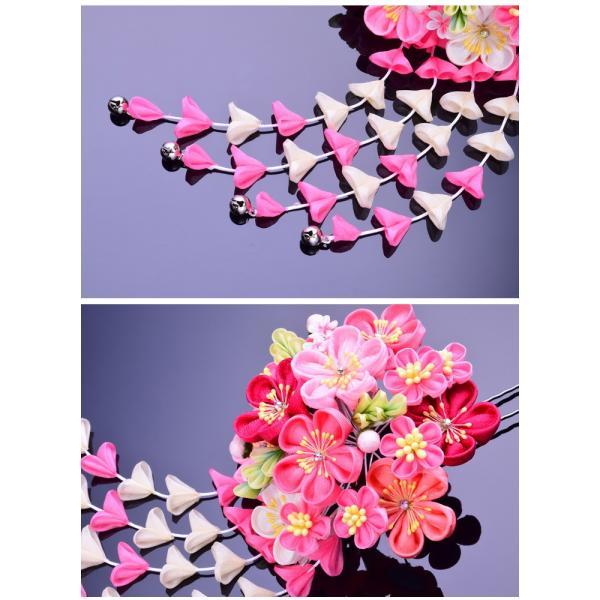 卒業式 袴 髪飾り かんざし ピンク 振袖 卒業式 和装 着物 つまみ細工 結婚式 袴|kanzashi|03