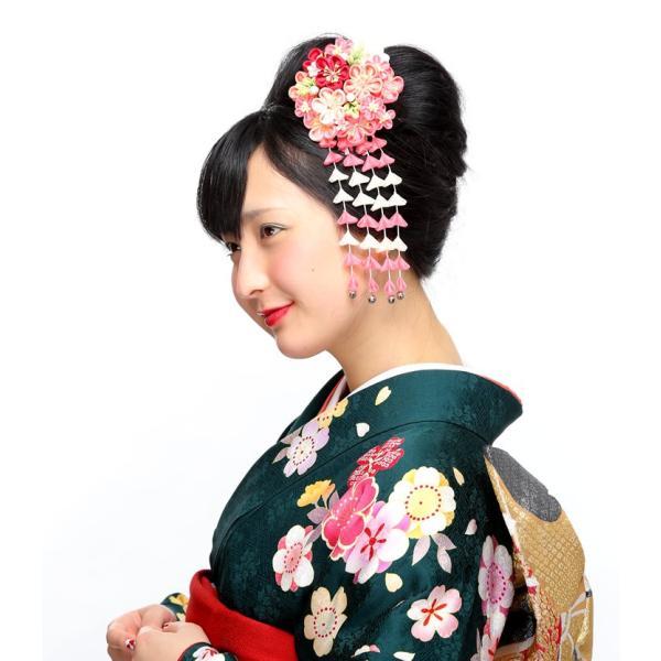 卒業式 袴 髪飾り かんざし ピンク 振袖 卒業式 和装 着物 つまみ細工 結婚式 袴|kanzashi|05