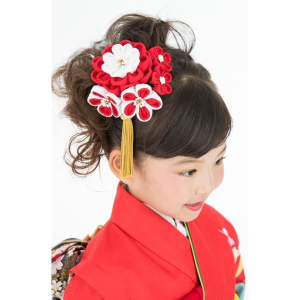 かんざし 髪飾り 七五三 3歳 7歳 三歳 七歳 赤 つまみ細工 ちりめん 梅 日本製 kanzashi 04