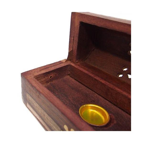 お香立て インセンスホルダー ボックス型 木製 花柄|kaori-market|03