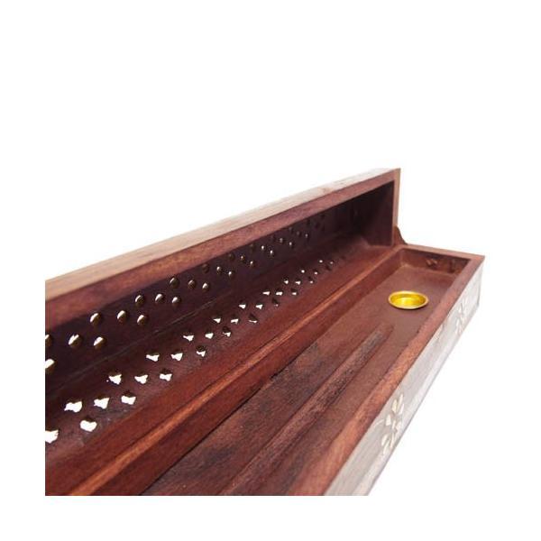 お香立て インセンスホルダー ボックス型 木製 花柄|kaori-market|04