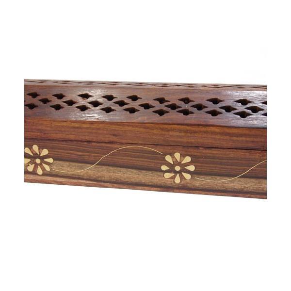 お香立て インセンスホルダー ボックス型 木製 花柄|kaori-market|06