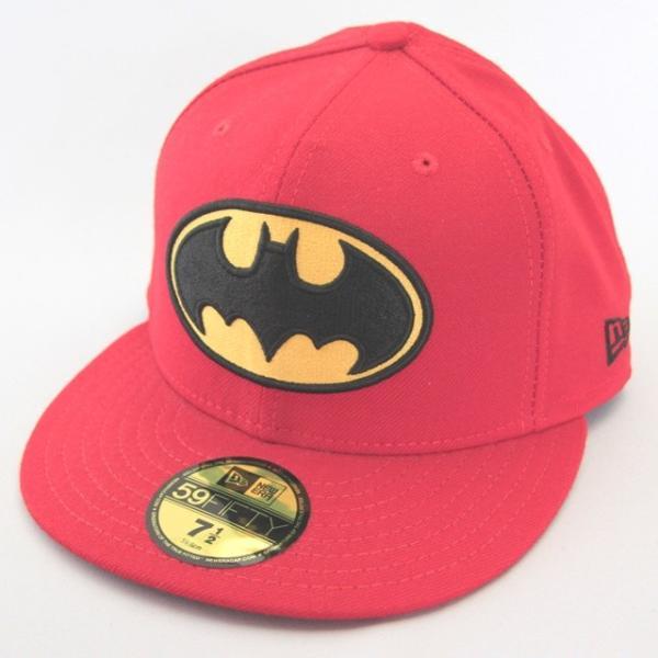 ニューエラ NEWERA xバットマンコラボ BATMAN BATロゴ 59FIFTY レッド ビンテージ|kappacraft