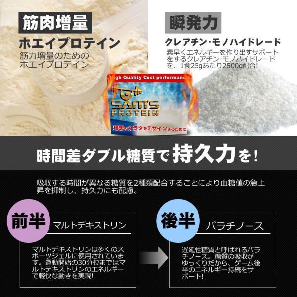 サムズ プロテイン アスリート サッカー パワー プロテイン UP 3kg(約120回分)リッチココア味/ミックスフルーツ味|karada-design|02
