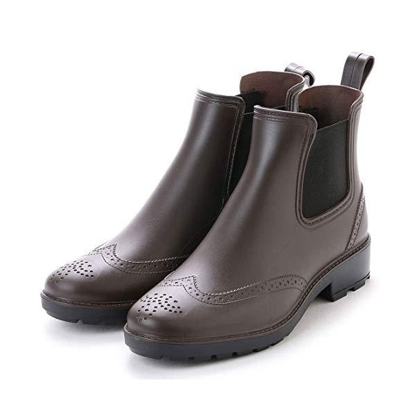 アシスタント レインブーツメンズレインシューズサイドゴアブーツビジネスシューズウイングチップ長靴(ブラウン24.0cm)