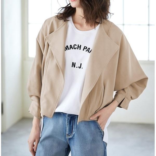 ジャケット 後ろタック ドルマン袖 ドレープ襟 デザインジャケット ツータックドルマン袖 コットン ドルマンシルエット ドレープ アウター 一部予約|karei-fuku|14
