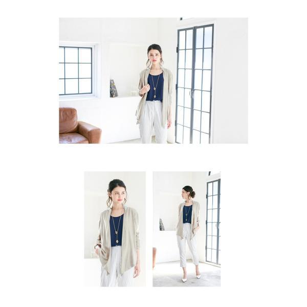 セール 新作   春 ドレープ カーディガン ニットカーデ ミディアム丈 無地 長袖 体型カバー エレガント|karei-fuku|04