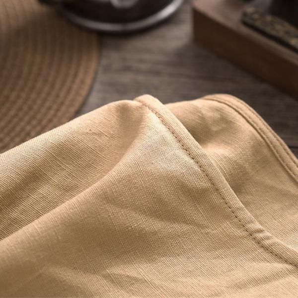 リネン コットン ワンピース Aライン フレアライン リネン 麻 スクエアネック ポケット付き 7分袖 ワンピース レディース|karei-fuku|03