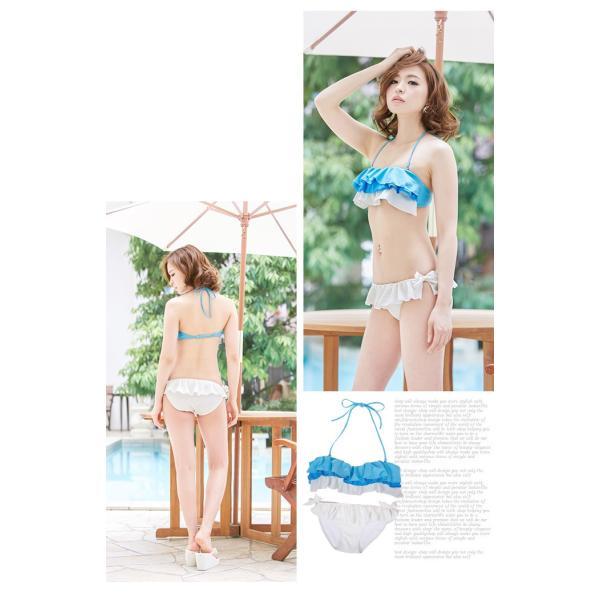 セール 水着  新作 ビキニ 2点セット フリル カラフル 小胸対策 ビーチ プール バストボリューム|karei-fuku|03