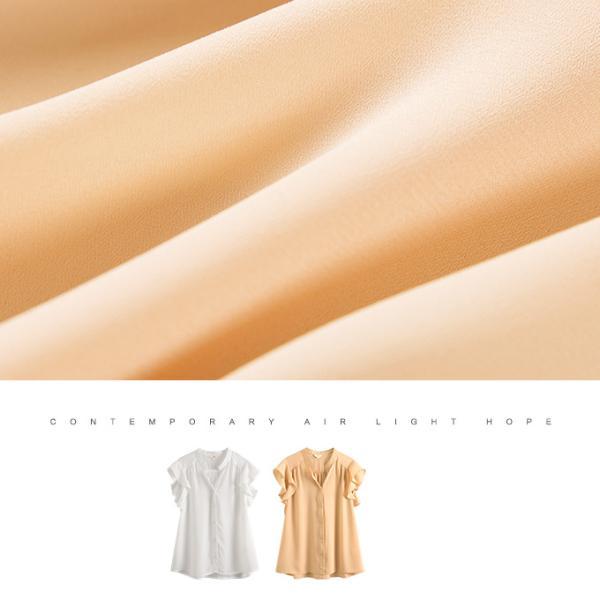 シフォンブラウス フリル袖 ギャザー ハンカチーフ・スリーブ 透け感 レディース 襟付き V開き スキッパーシャツ 母の日一部予約 一部予約|karei-fuku|02