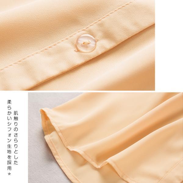 シフォンブラウス フリル袖 ギャザー ハンカチーフ・スリーブ 透け感 レディース 襟付き V開き スキッパーシャツ 母の日一部予約 一部予約|karei-fuku|07