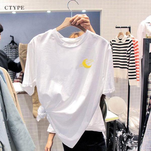 【45%OFFクーポン⇒979円】tシャツ プルオーバー Tシャツ レディース 3タイプ トップス コットン ゆるっと感 文字ロゴ 半月ロゴ ホワイト|karei-fuku|07