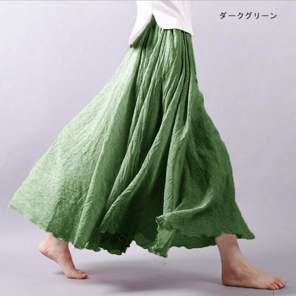 フレアスカート ロング リネン風 ナチュラル カラバリ 春夏 新作 一部予約|karei-fuku|07