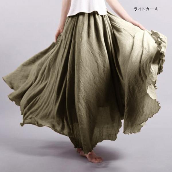 フレアスカート ロング リネン風 ナチュラル カラバリ 春夏 新作 一部予約|karei-fuku|09