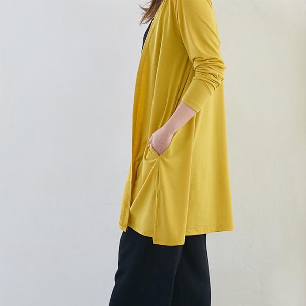 UV紫外線カット カーディガン コットン ノーカラー 速乾 汗吸収 涼しげな ロング丈 アウター カーデショール風カーデ ポケット付 レディース 母の日 一部予約|karei-fuku|14