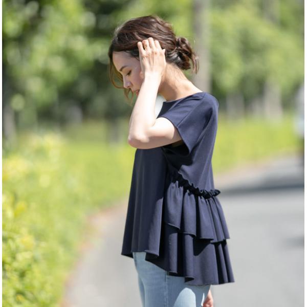 Tシャツフリル ブラウス カットソー シャツレディース ドルマン半袖 トップス 薄ポンチ素材 karei-fuku 14