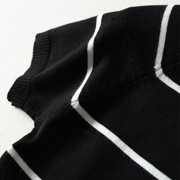 ニットセーター 半袖 レディース トップス 春夏 ボーダー柄 無地 クルーネック 一部即納|karei-fuku|19