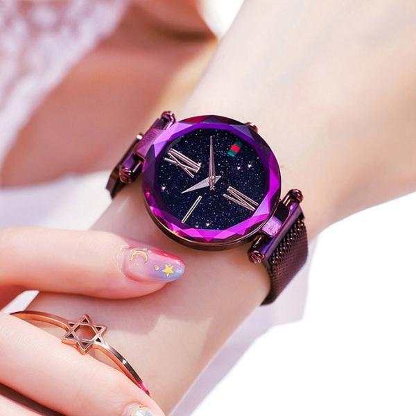 腕時計 ウォッチ ビジュー付き オーロラー風 ビジュー ゴージャス キラキラ サイズ調整可能 レディース 磁気 男女兼用 一部予約|karei-fuku|12