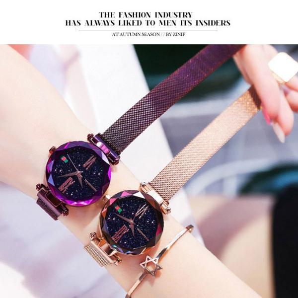 腕時計 ウォッチ ビジュー付き オーロラー風 ビジュー ゴージャス キラキラ サイズ調整可能 レディース 磁気 男女兼用 一部予約|karei-fuku|05
