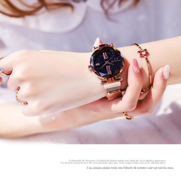 腕時計 ウォッチ ビジュー付き オーロラー風 ビジュー ゴージャス キラキラ サイズ調整可能 レディース 磁気 男女兼用 一部予約|karei-fuku|07