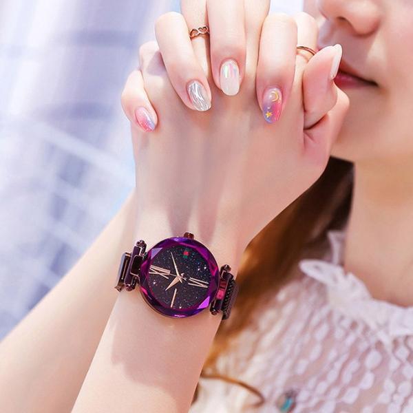 腕時計 ウォッチ ビジュー付き オーロラー風 ビジュー ゴージャス キラキラ サイズ調整可能 レディース 磁気 男女兼用 一部予約|karei-fuku|09