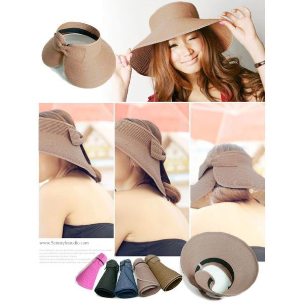 セール UV 帽子 紫外線対策 新作 つば広 日よけ UVカット つば広帽 麦わら ストローハット 帽子|karei-fuku|02