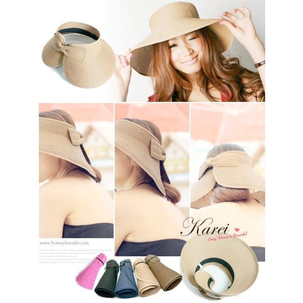 セール UV 帽子 紫外線対策 新作 つば広 日よけ UVカット つば広帽 麦わら ストローハット 帽子|karei-fuku|03