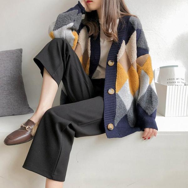 ニットカーディガン ニットもこもこ ファー 起毛 チェック柄 アウター カーデ ふんわり 暖かい ニット 羽織り ダイス柄 アーガイル風 ボタン karei 11