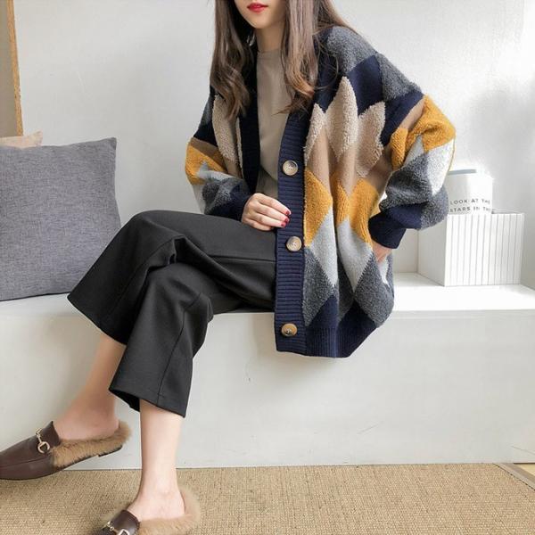 ニットカーディガン ニットもこもこ ファー 起毛 チェック柄 アウター カーデ ふんわり 暖かい ニット 羽織り ダイス柄 アーガイル風 ボタン karei 12