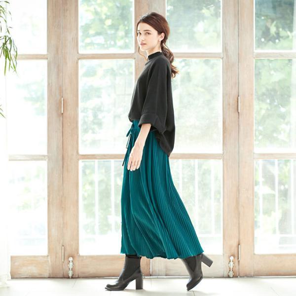 プリーツ スカーチョ ウエストゴム ロング ポトムス ワイドパンツ ガウチョパンツ シンプル 新春セール|karei|12