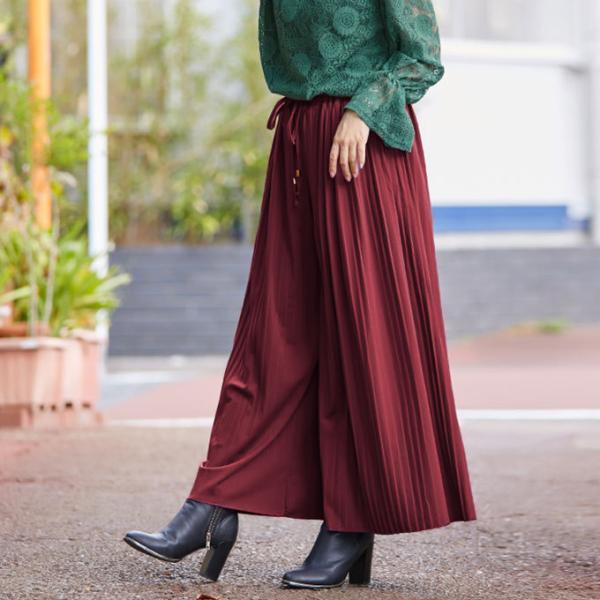 プリーツ スカーチョ ウエストゴム ロング ポトムス ワイドパンツ ガウチョパンツ シンプル 新春セール 一部即納|karei|16