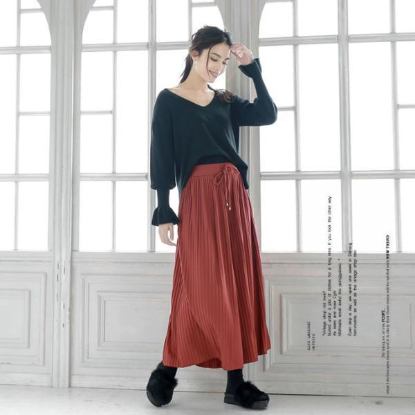 プリーツ スカーチョ ウエストゴム ロング ポトムス ワイドパンツ ガウチョパンツ シンプル 新春セール|karei|06