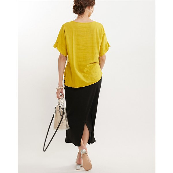 麻風 リネンタッチ トップス ブラウス フリル ラウンドネック|karei|06