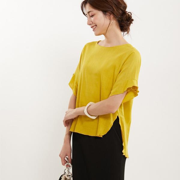 麻風 リネンタッチ トップス ブラウス フリル ラウンドネック|karei|07