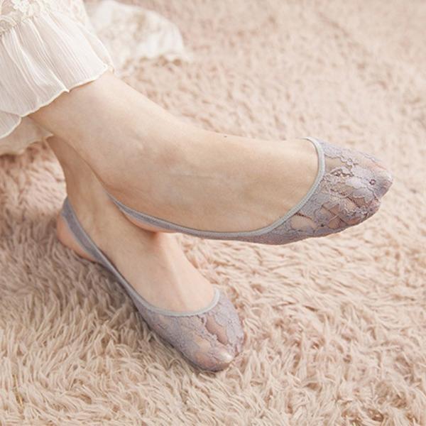 ソックス 靴下 レディース花柄レース バックストラップ レース カバー シースルー カバー ストレッチ クッション付|karei|13