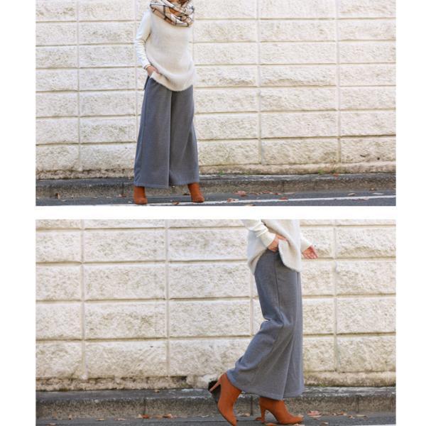 ワイドパンツ 裏起毛 スカート スリットスカンツ ガウチョパンツ ぬくもり、ロング スカート 無地 ワイドパツ  7分丈   新春セール 一部即納|karei|15